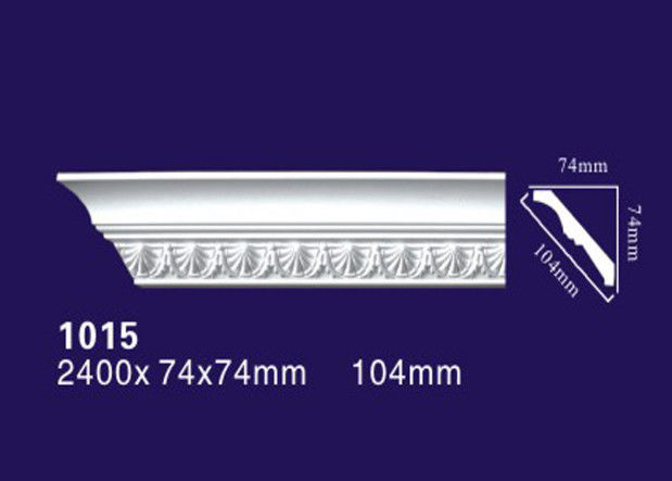 White Color Polyurethane Ceiling Mouldings , Lightweight Carved Cornice Mouldings